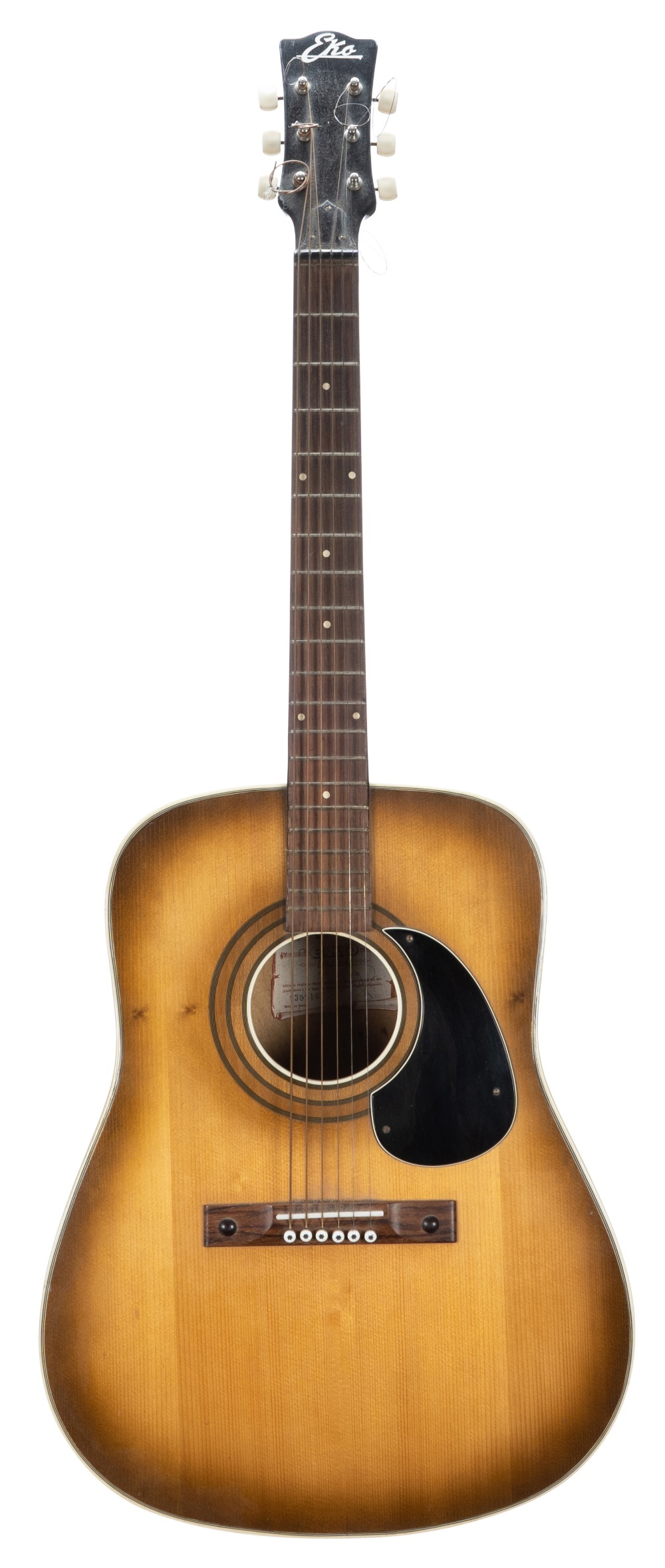 Lot 30 - 1970s Eko J52 acoustic guitar, made in Italy; Finish: tan top, various imperfections including