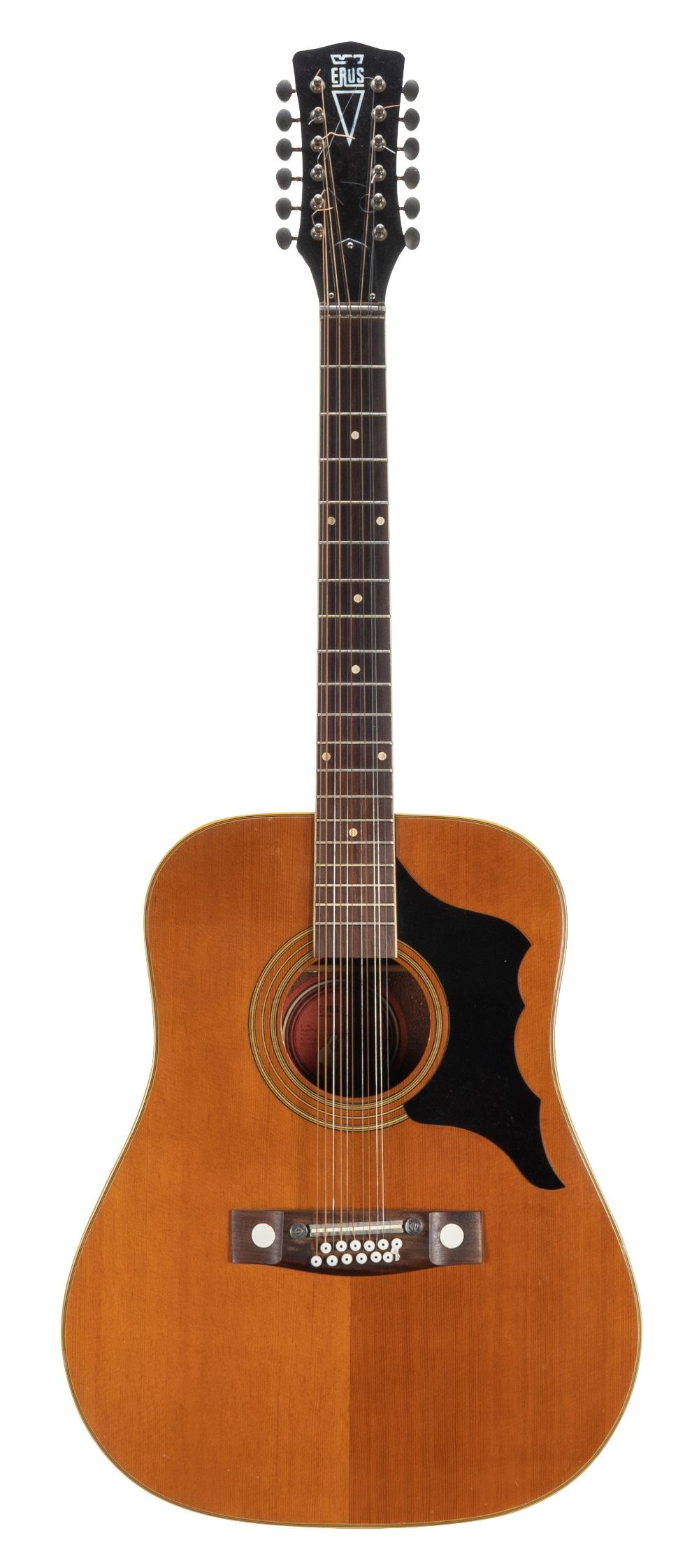 Lot 49 - 1970s Eros 14228 twelve string acoustic guitar in need of attention (bridge plate slightly lifting