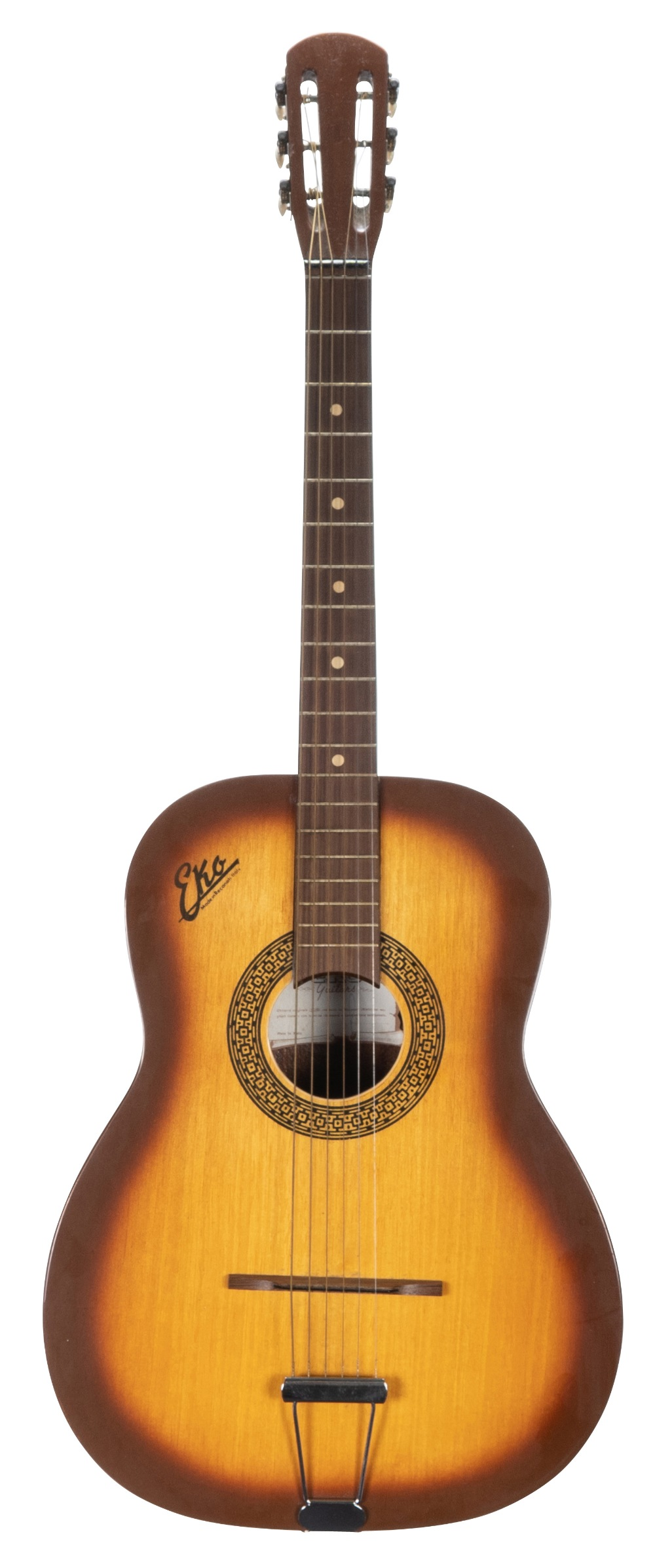 Lot 37 - Eko Fiesta 3/4 acoustic guitar, made in Italy; Finish: sunburst, some lacquer cracks, blemishes
