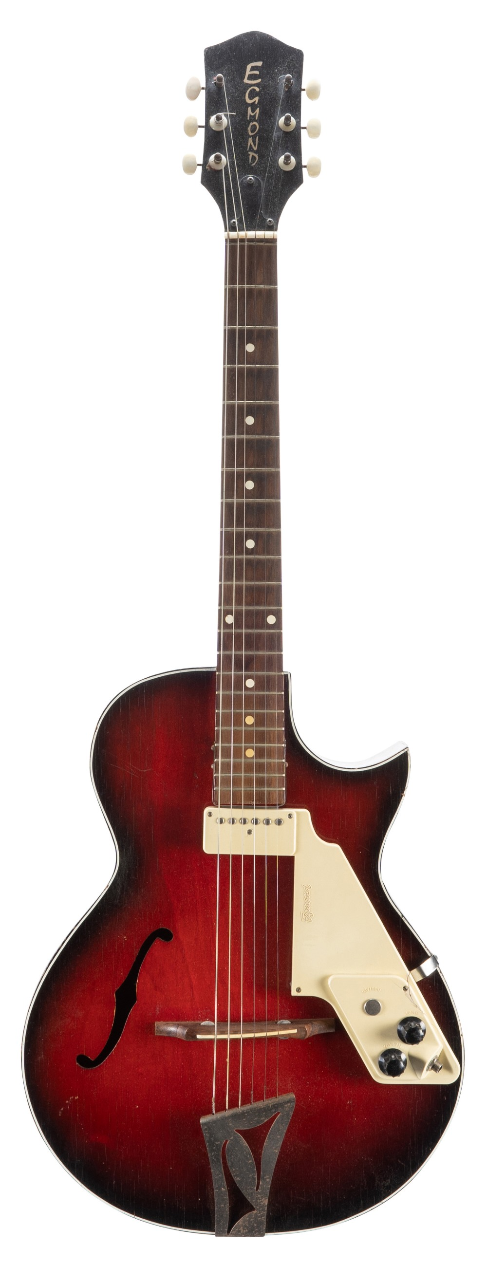 1960s Egmond Lucky 7 hollow body electric guitar in need of attention; Finish: red burst, various
