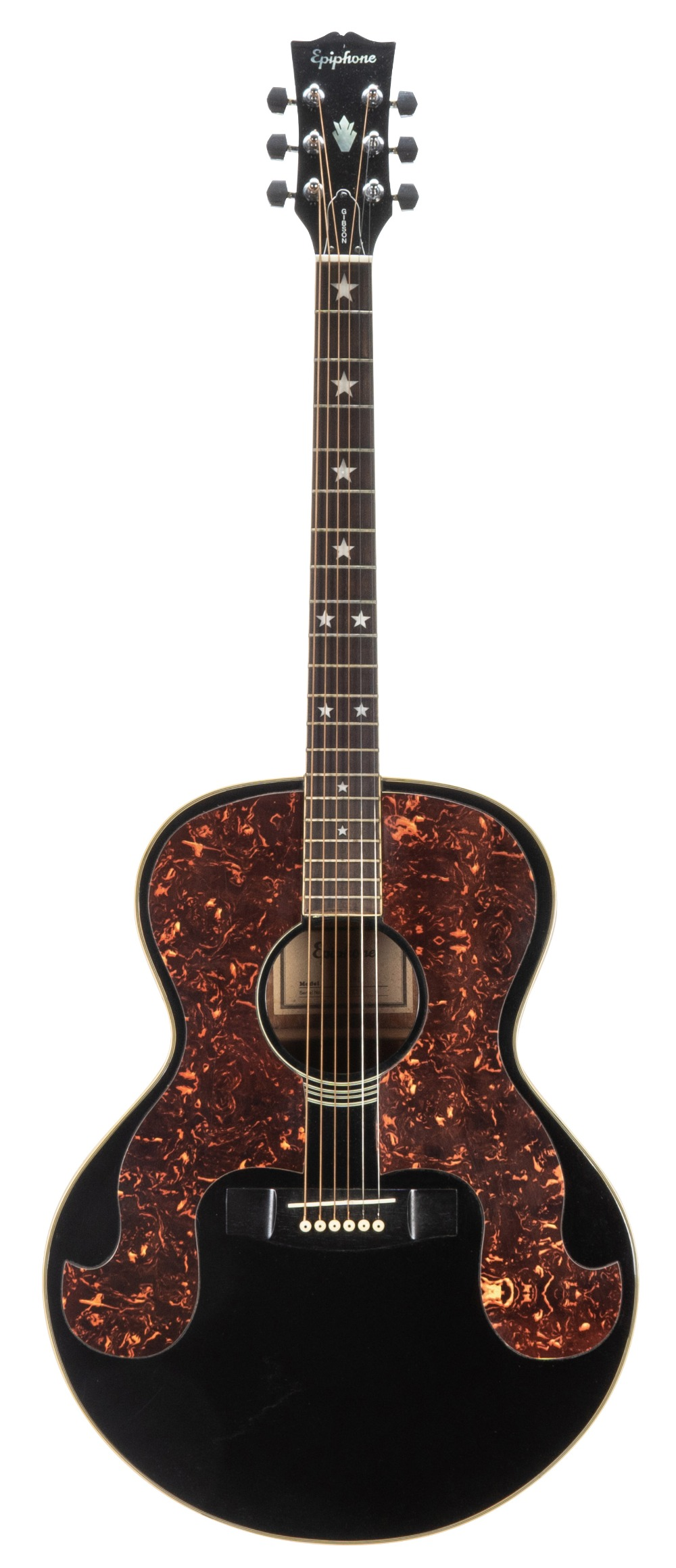 Epiphone SQ-180 acoustic guitar, ser. no. 00xxx53; Finish: black, various surface scratches;