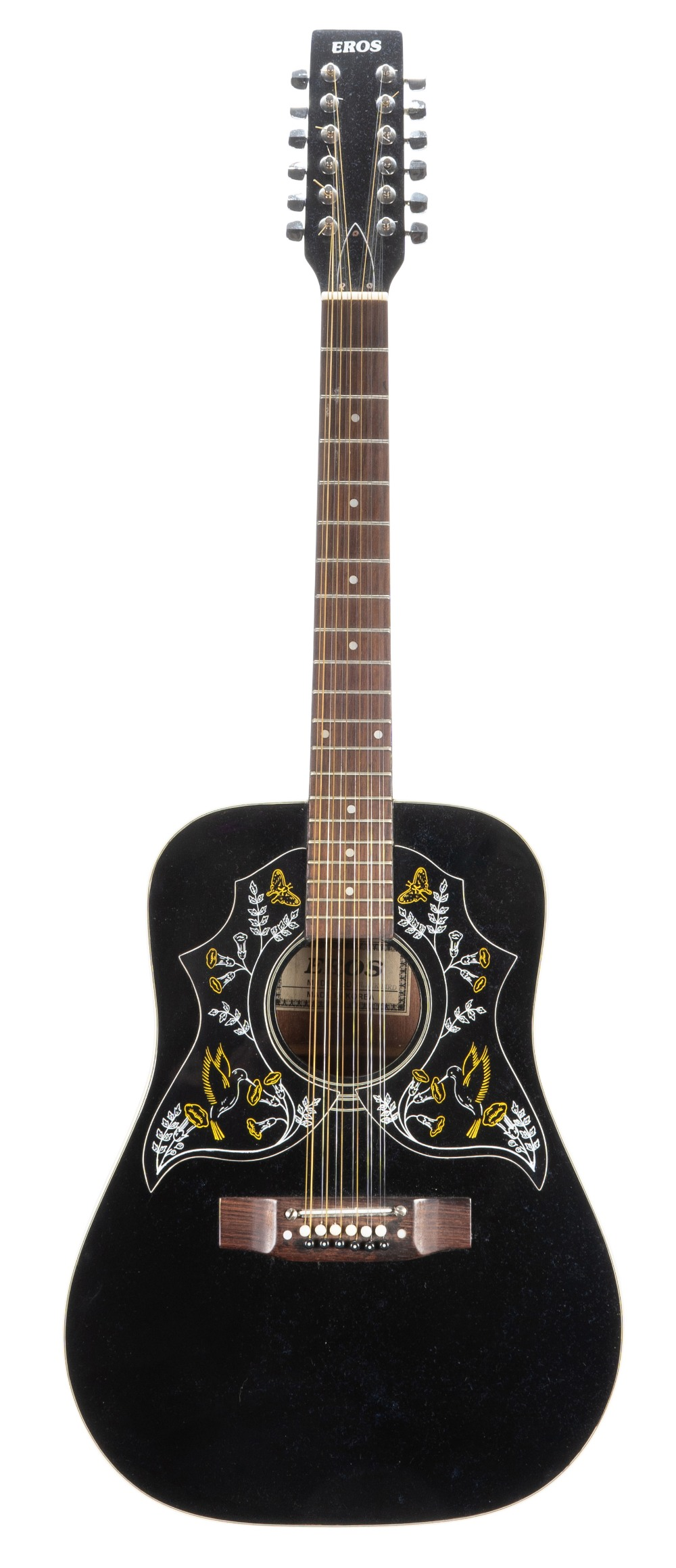 1970s Eros Blackbird twelve string acoustic guitar, made in Korea, hard case; together with a Kay