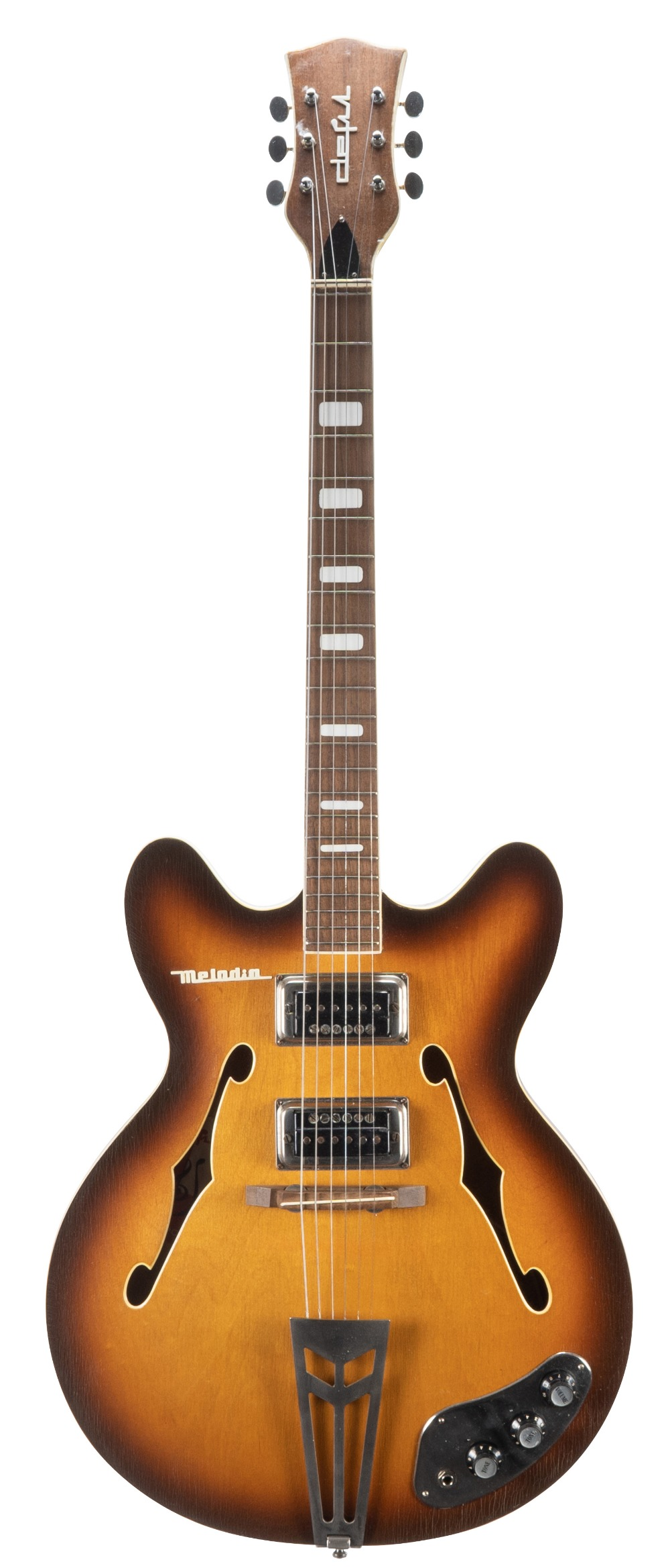 1970s Defil Melodia hollow body electric guitar, made in Poland; Finish: tobacco sunburst, heavy