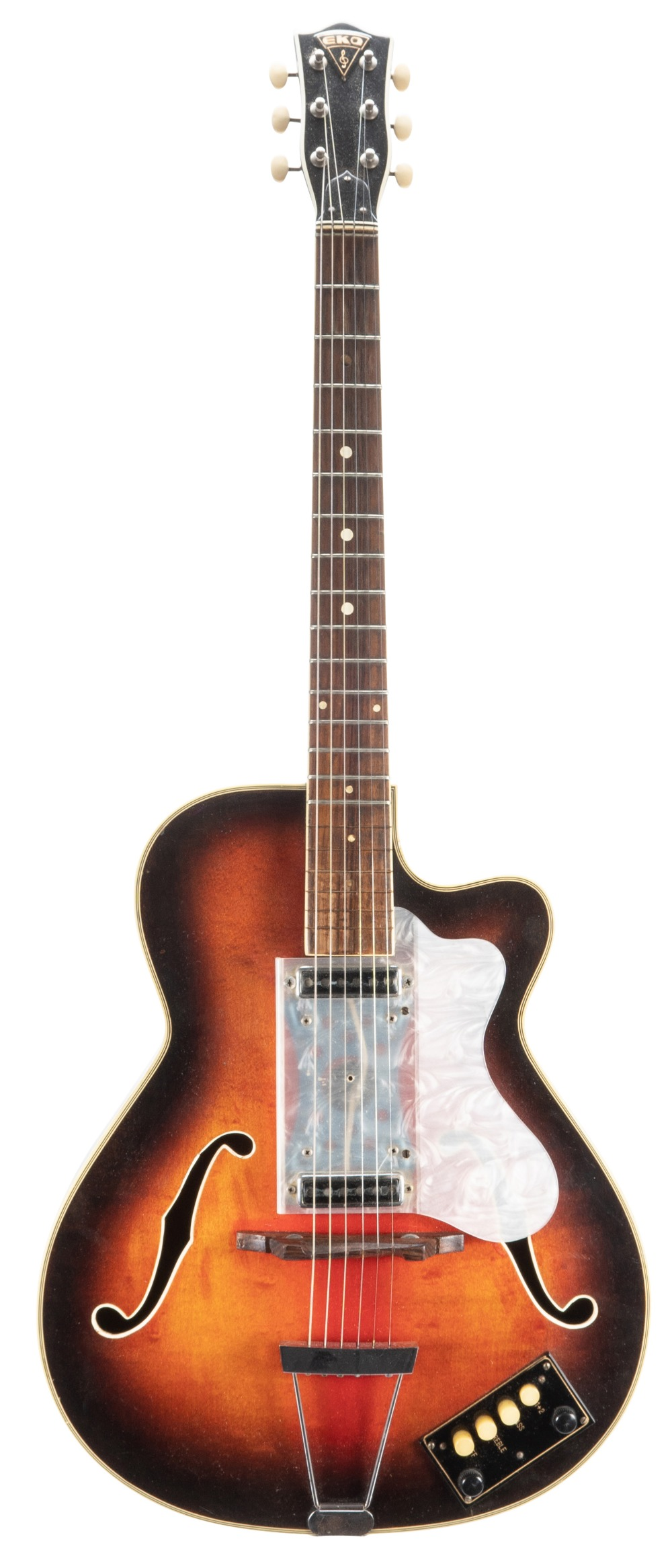 1960s Eko 300 Series hollow body electric guitar in need of restoration, made in Italy; Finish: