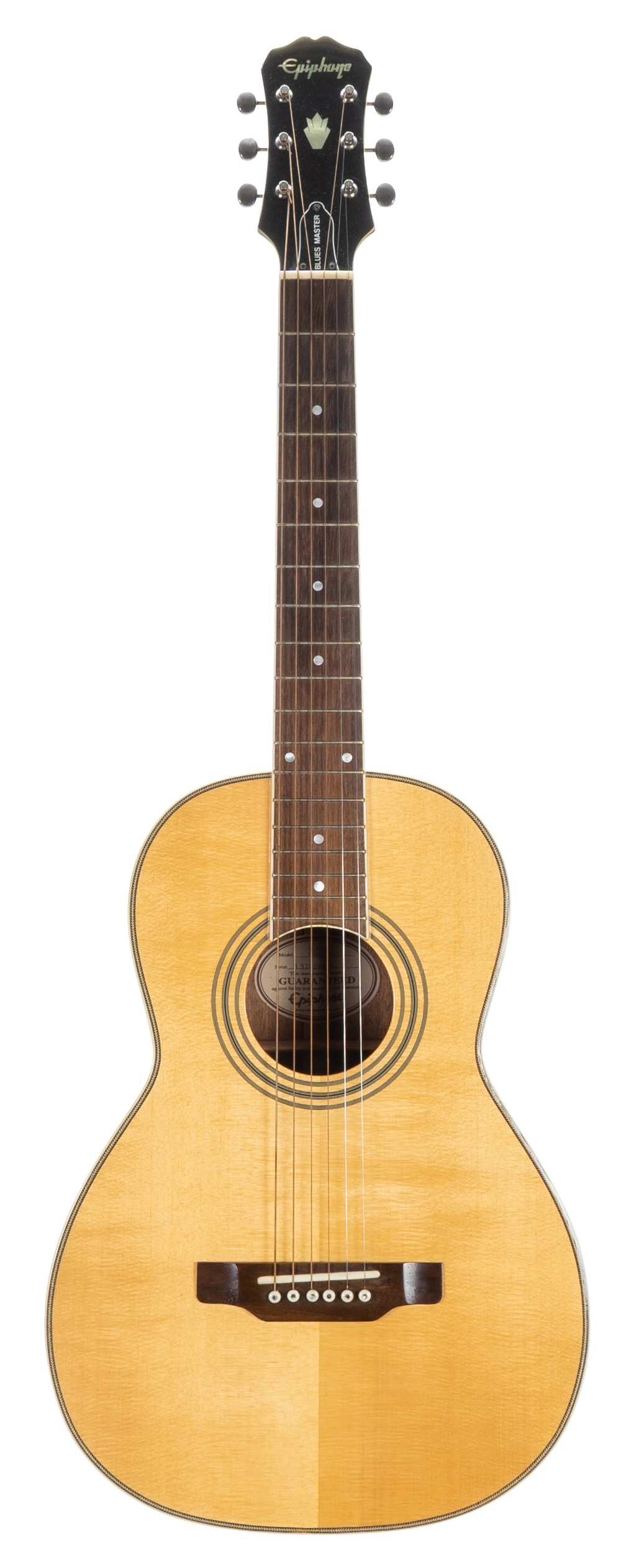 1997 Epiphone Blues Master acoustic guitar, made in Korea, ser. no. S97xxxx10; Back and sides: