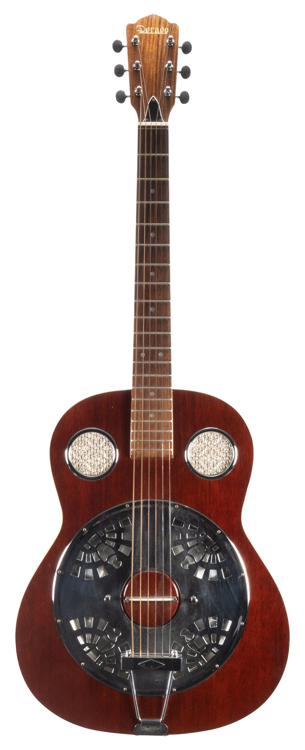 1970s Dorado resonator guitar, made in Japan; Finish: stained mahogany, blemishes to the back and