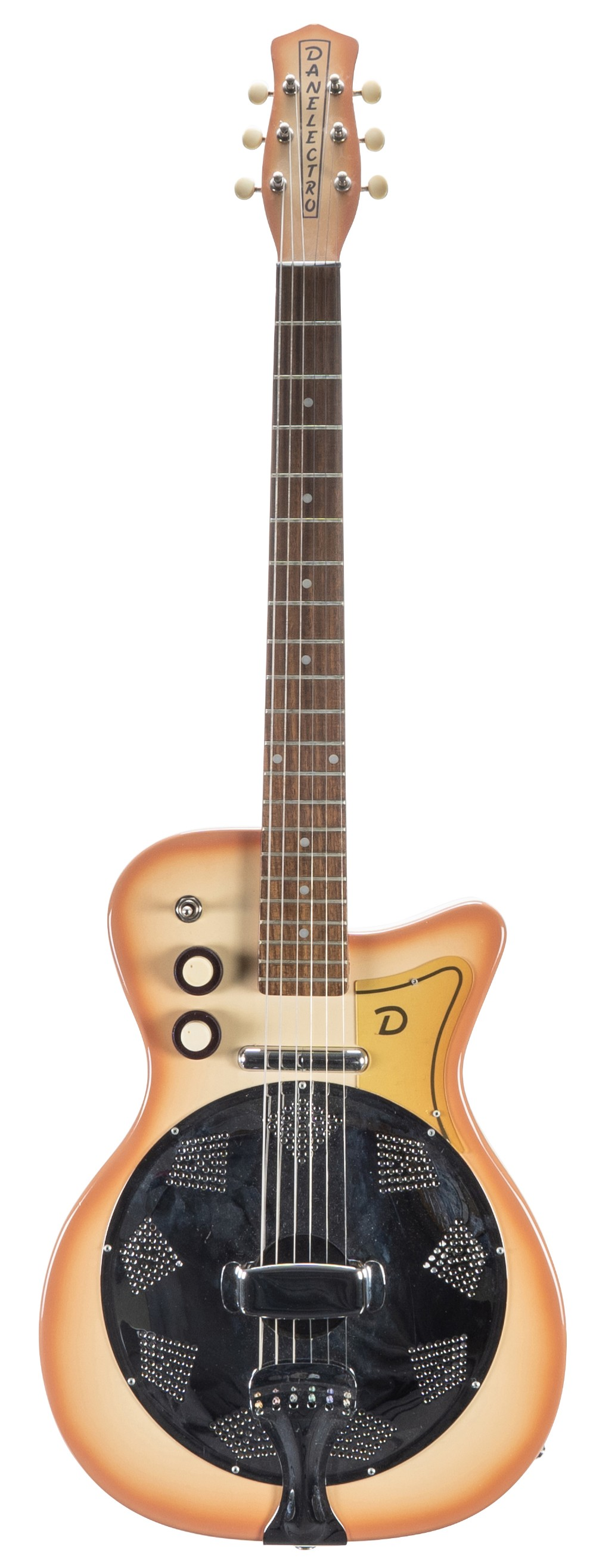 1990s Danelectro Resodan electric resonator guitar; Finish: coral burst; Fretboard: rosewood; Frets: