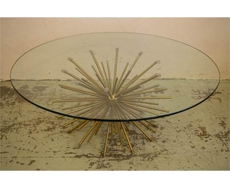 LOW TABLE, 1950s Italian style Sputnik design, glass top, 120cm Diam x 46cm H.