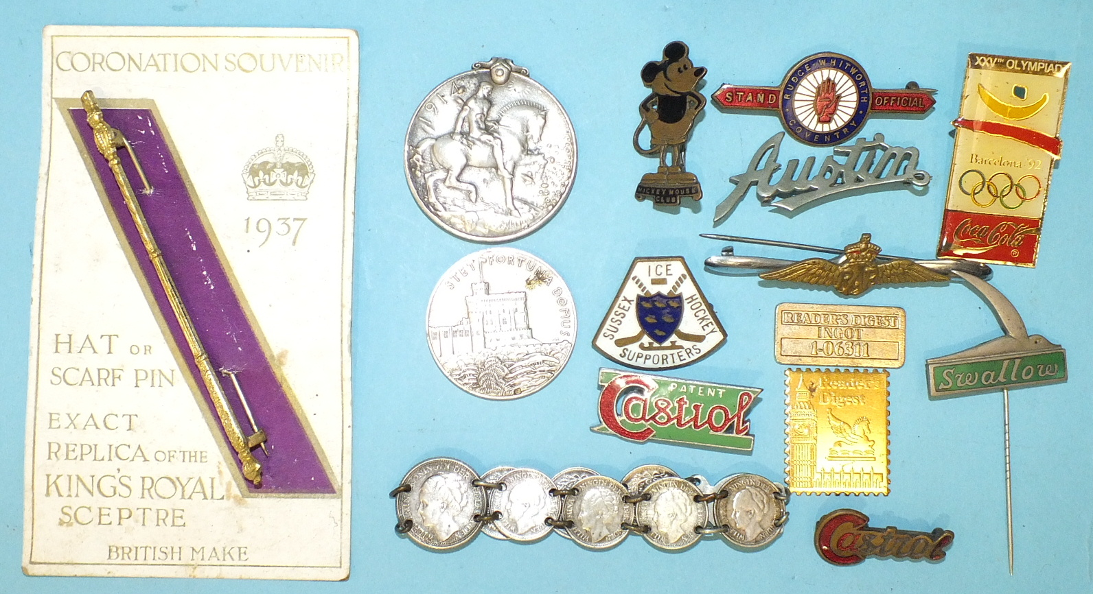 Lot 550 - A 1914-1918 War Medal (pitted) awarded to 156952 Gnr F Putman RA, a vintage Mickey Mouse Club