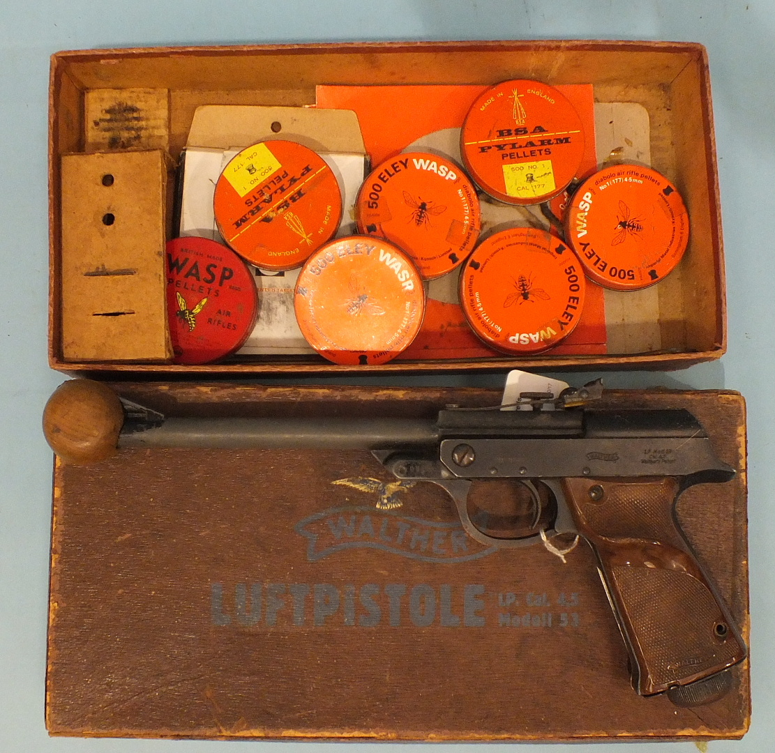 Lot 612 - A Walther MOD 53 .177 calibre air pistol with wood-effect grips.
