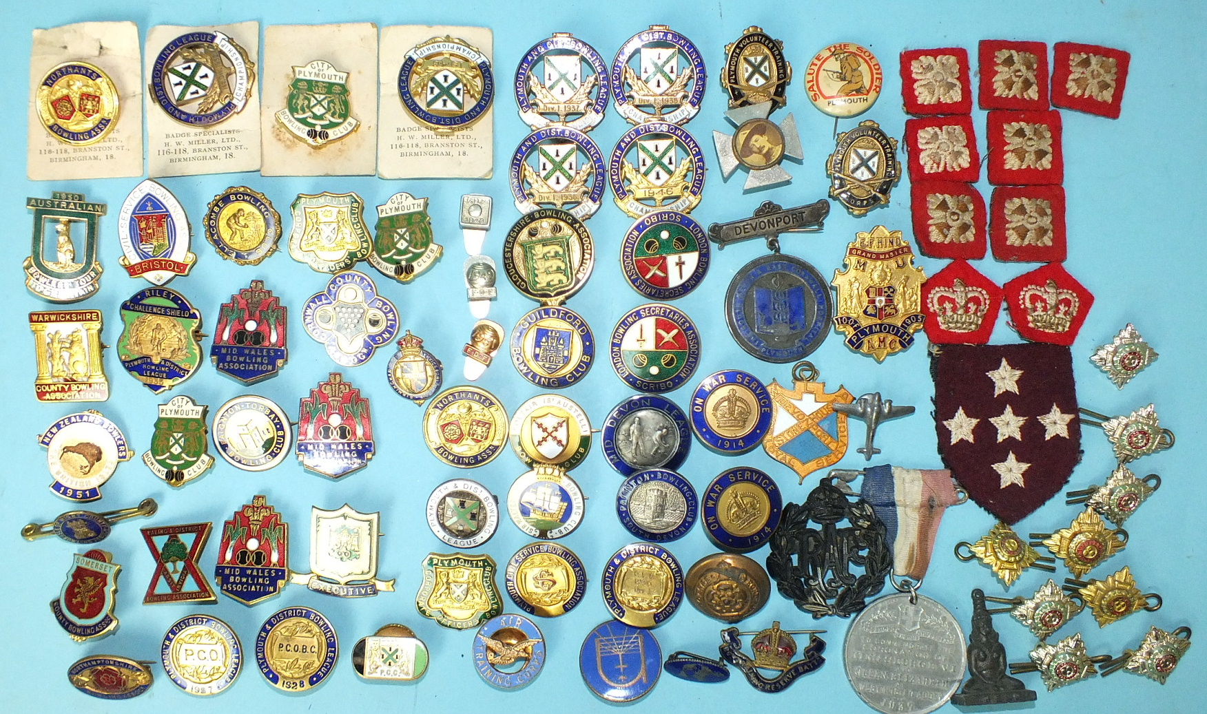 Lot 583 - Various enamelled badges, including 47 bowling badges, and other items.