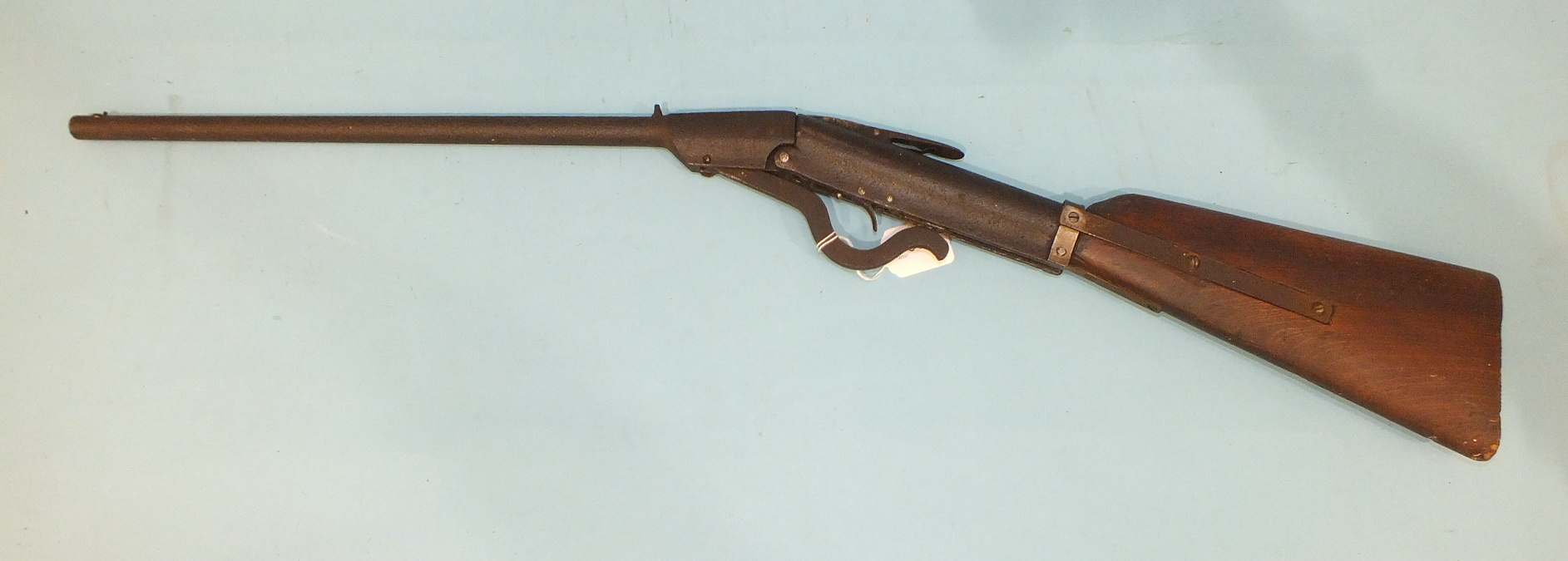 Lot 616 - An early German air rifle of .177 calibre, later strengthening bars to stock, 91cm overall.