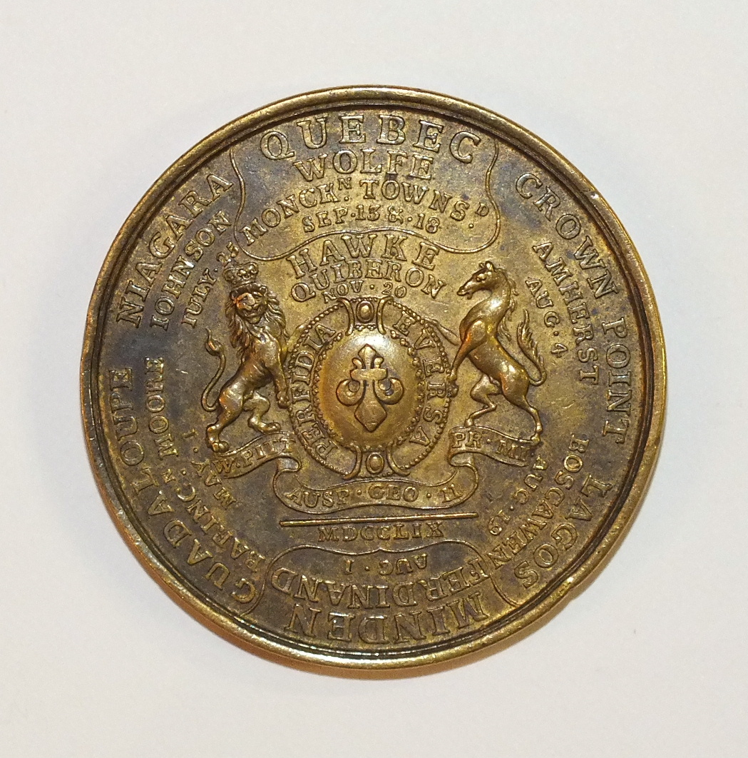 "Lot 562 - A 1759 Betts-419 ""Success"" Medal Mule in brass, 4.3cm diameter. This is a muling of the Betts-419"