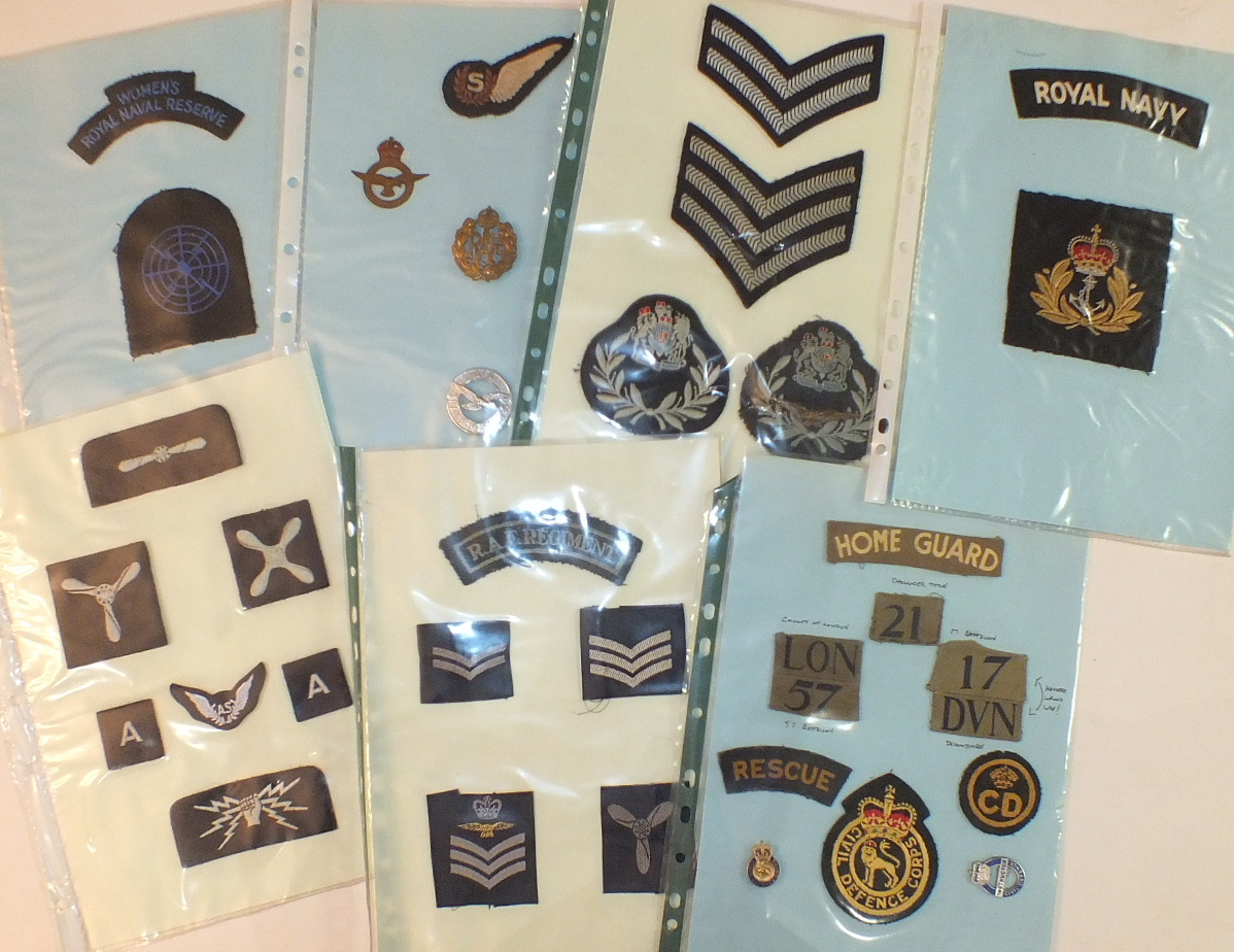 Lot 588A - A collection of 65 cloth badges, including Home Guard, Royal Navy and RAF.