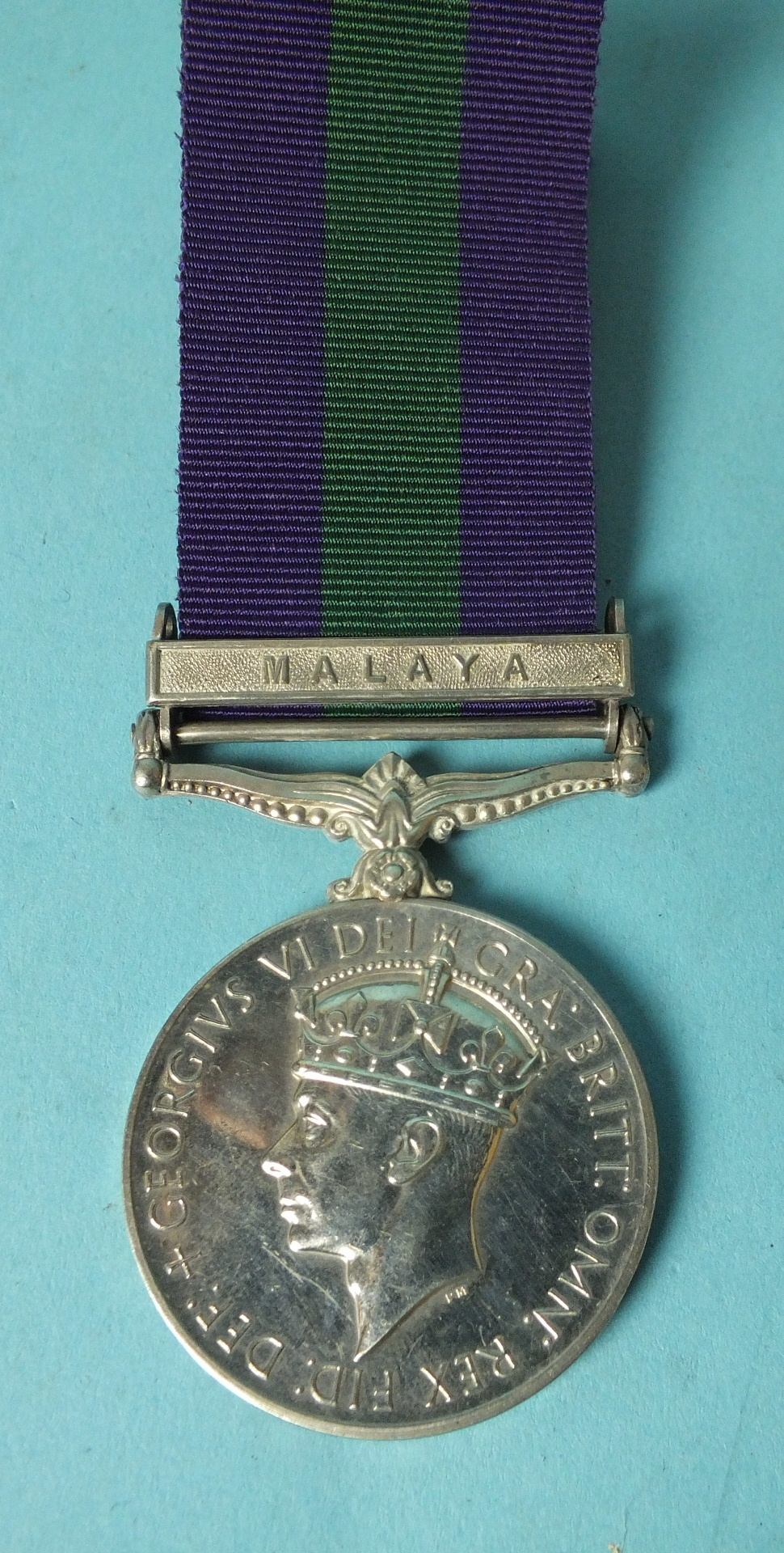 Lot 575 - A General Service Medal with Malaya clasp awarded to MYA/18105595 Spr Ahmad B Hashi RE.