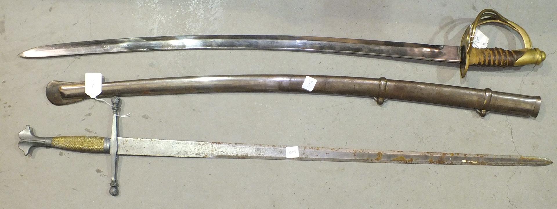 Lot 594 - A brass and copper bugle, a miniature bugle, a replica basket-hilted sabre in scabbard and a replica