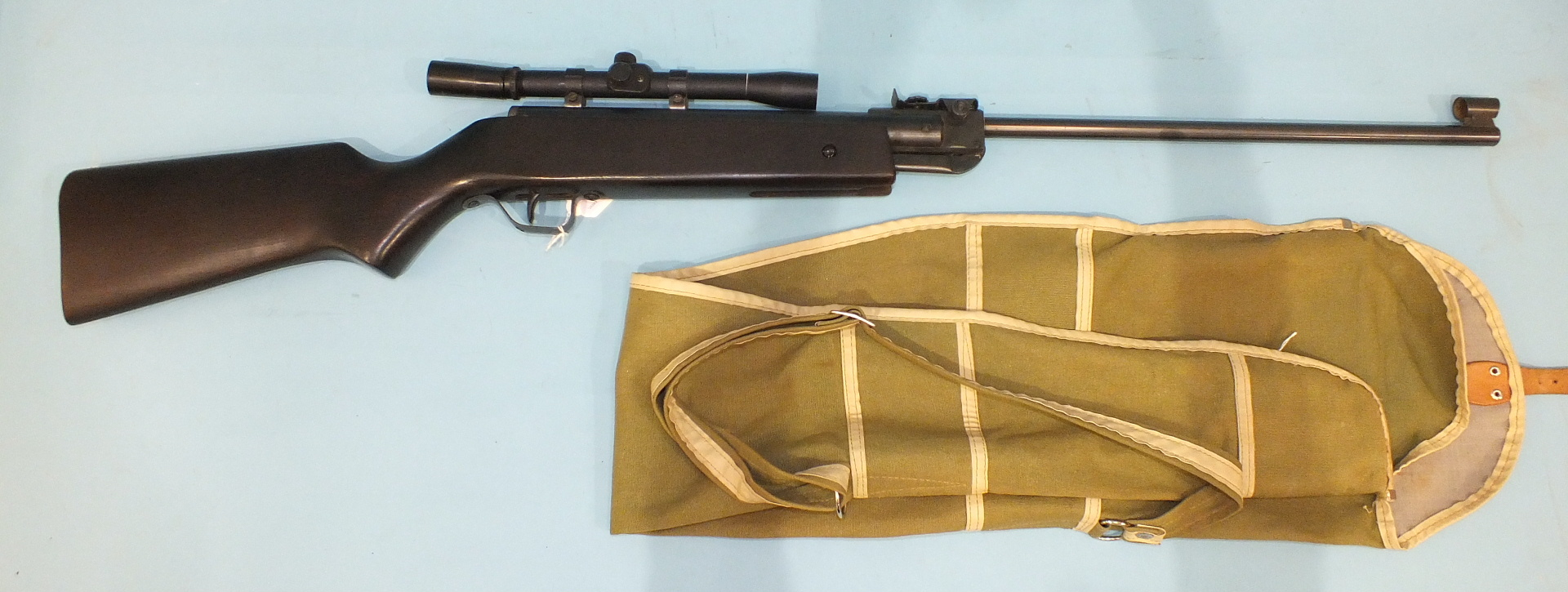 Lot 602 - A Hungarian .22 air rifle in canvas sleeve.
