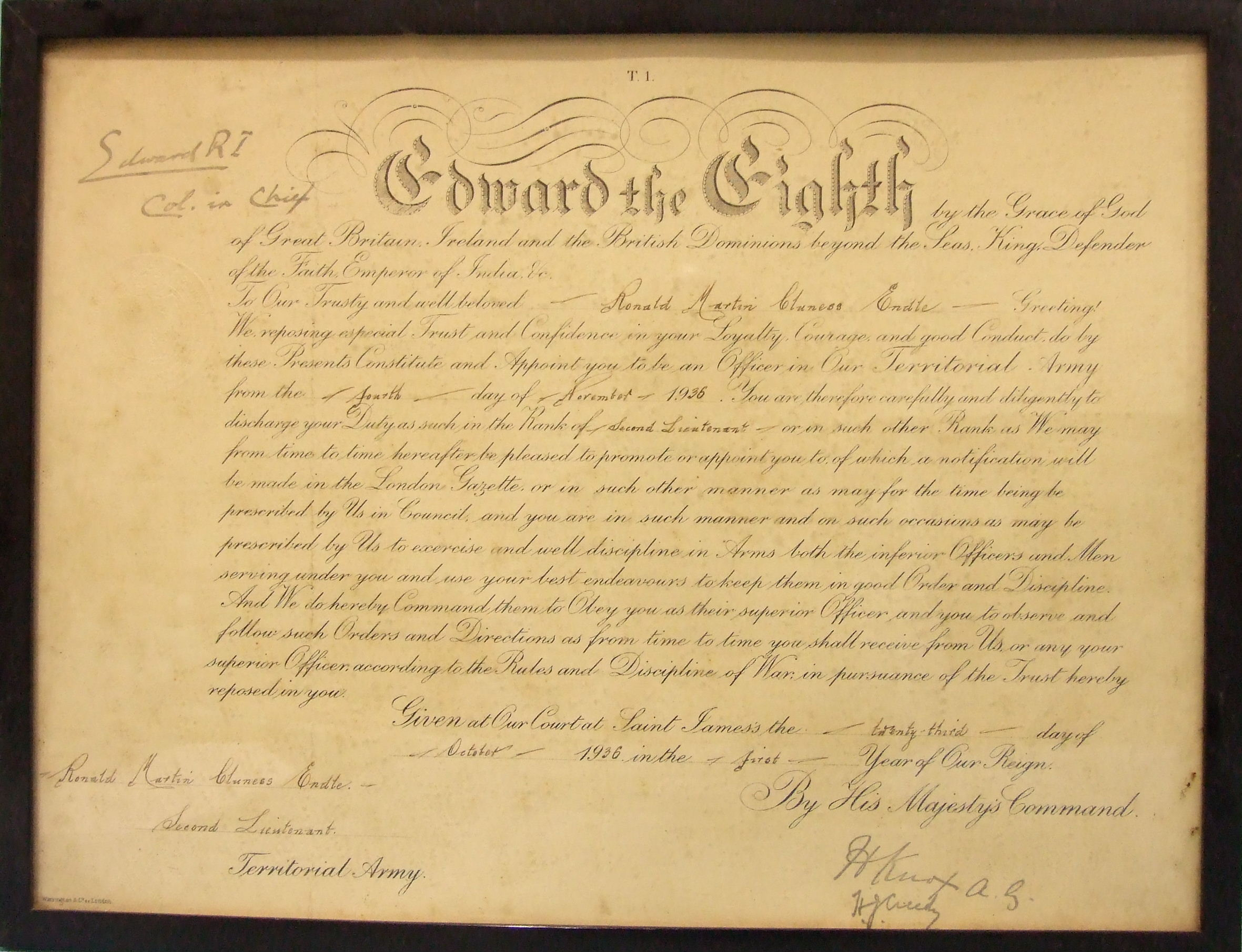 """Lot 584 - Edward VIII, Military Commission, signed at the head as King """"Edward RI, Col. in Chief"""", Court at St"""