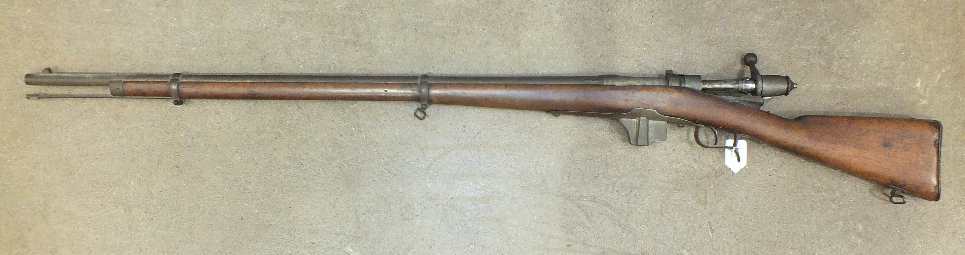 Lot 593 - A Torre Annunziata 1889 10.5mm bolt-action rifle with full wood stock and rammer, 135cm overall,