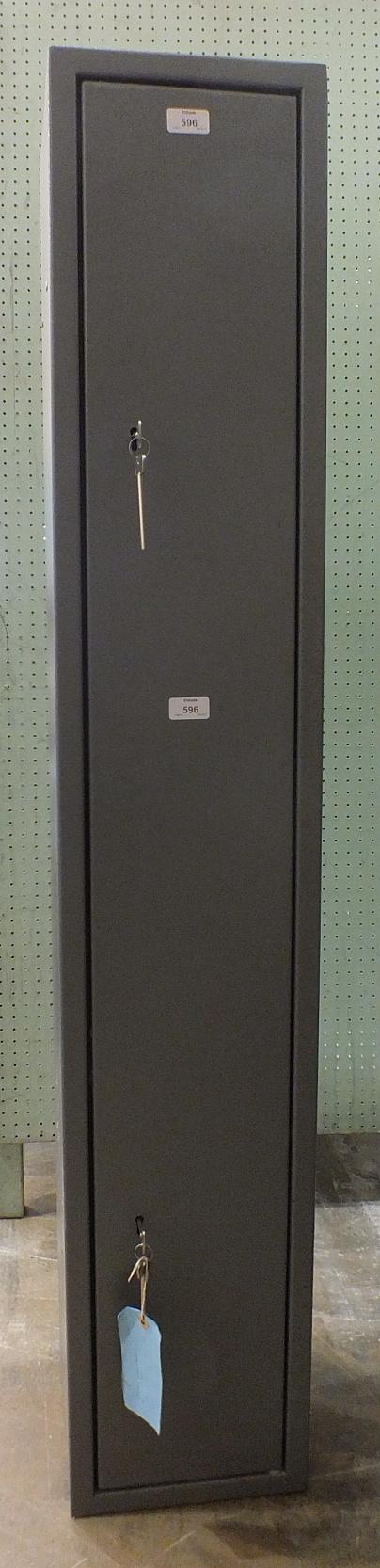 Lot 596 - A steel gun cabinet, 148cm high, 25cm wide, 27cm deep.