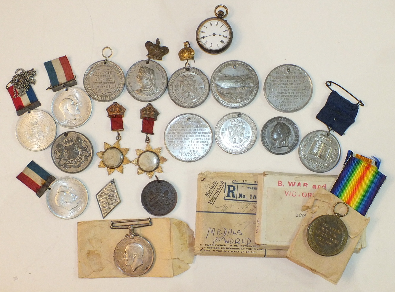 Lot 586 - A WWI pair: Victory Medal and British War Medal, awarded to 16741 Pte J F French, Devon Regiment,