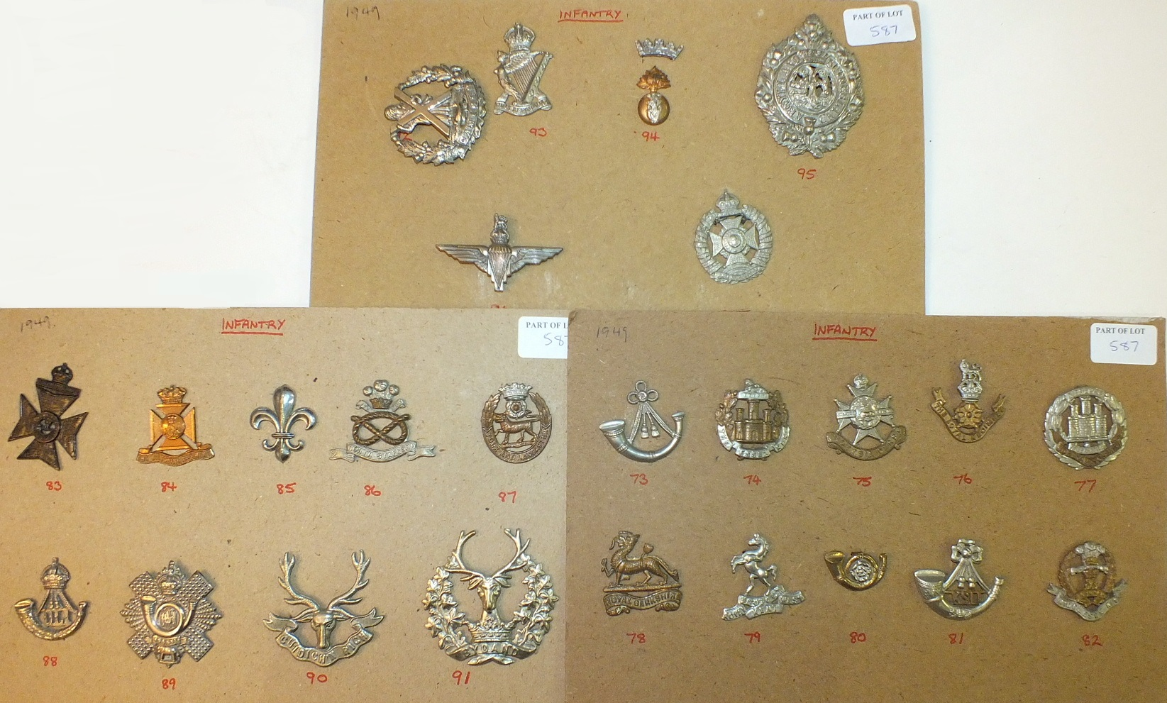 Lot 587 - A collection of 89 brass and bi-metal cap badges: Cavalry, Infantry, etc, British Army 1949.