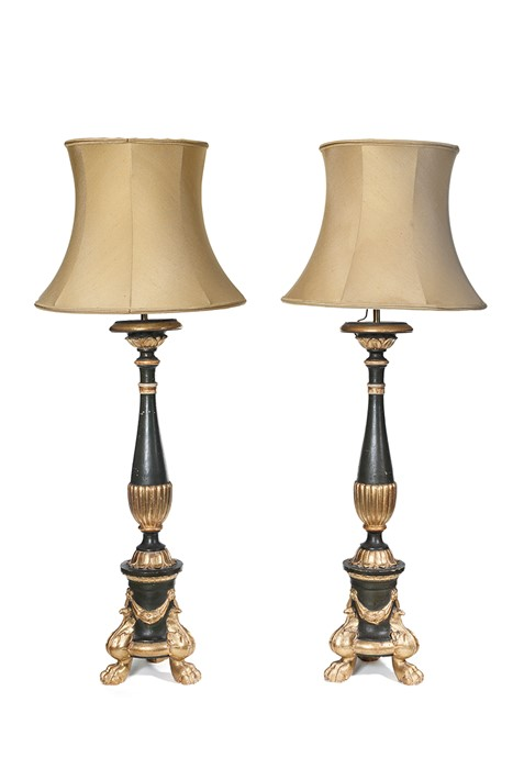 Lot 48 - A pair of large Italian green painted and parcel gilt table lamps, circa 1900