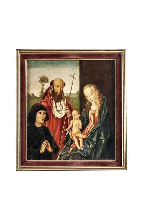 Lot 56 - Follower of Francesco Francia, The Holy family