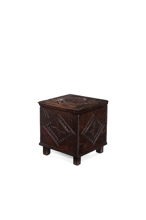 Lot 37 - A Charles II oak close stool, circa 1670