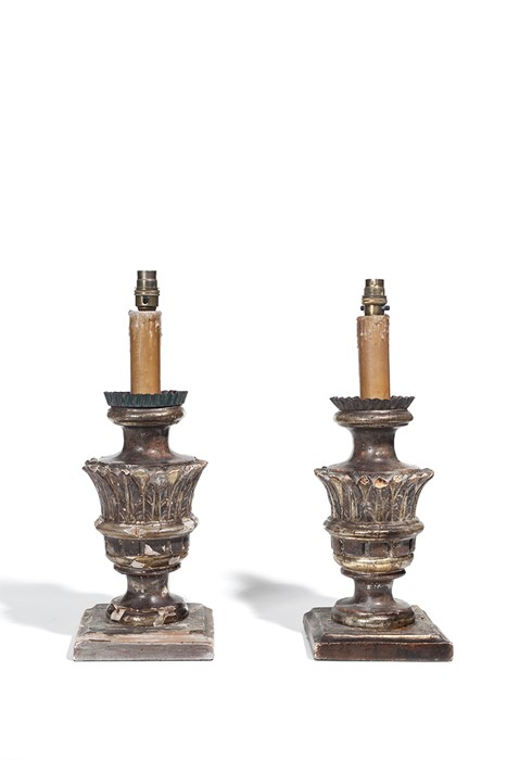 Lot 46 - A pair of giltwood table lamps, 18th century with a further two similar lamps