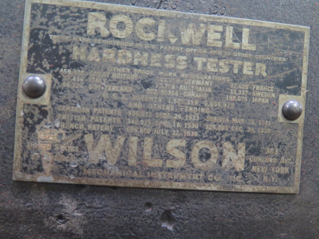 Lot 2 - Wilson mdl. 3QR Rockwell Hardness Tester s/n 3QR-1073