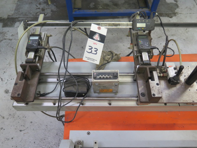 Lot 33 - Custom Inspection Fixture w/ Mitutoyo Digital Scales and Pneumatic Clamping