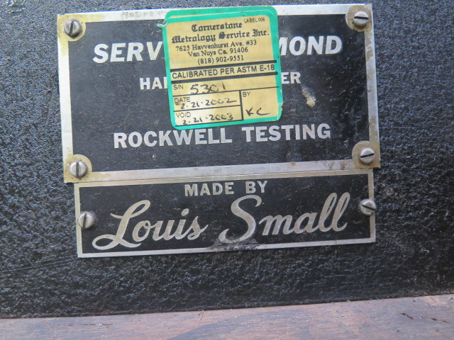 Louis Small Service Diamond mdl. 8A Rockwell Hardness Tester s/n 5301 - Image 5 of 5