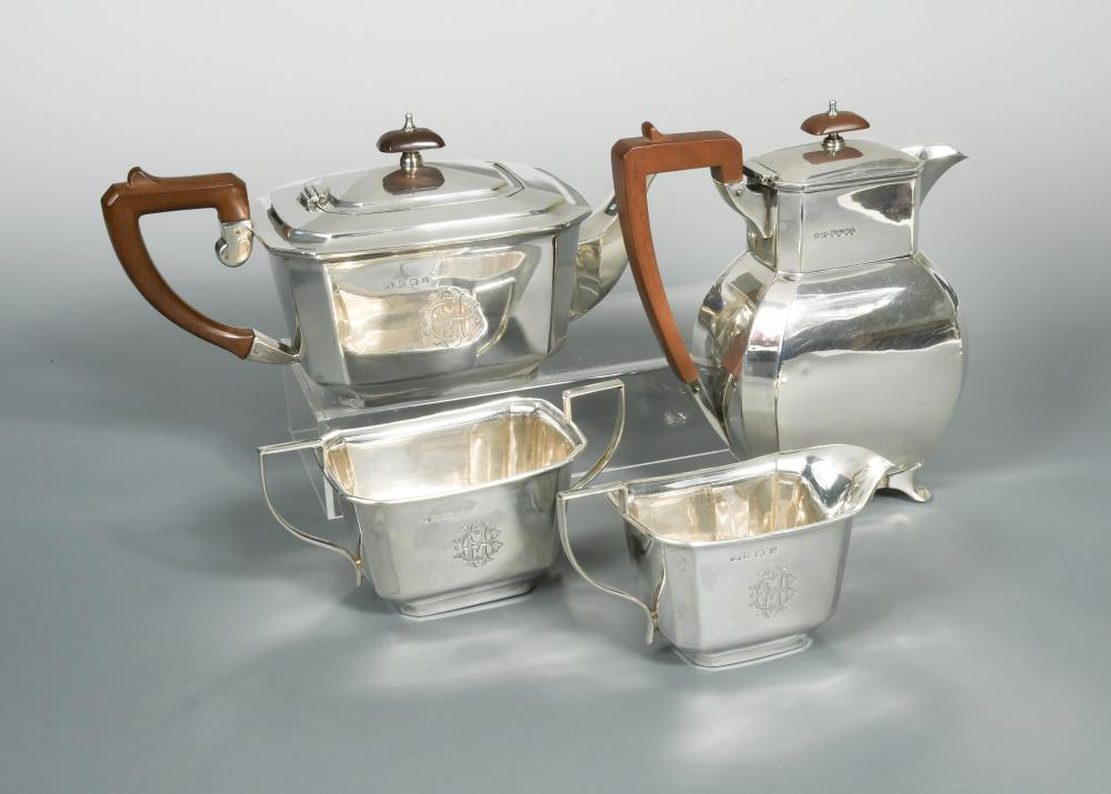 An Art Deco Style Silver Three Piece Tea Set With Hot Water Jug En Suite The Tea Pot By Thomas In Cheffins Fine Art