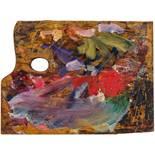 Opening: 25000 EUR        Egon Schiele  (Tulln 1890 - 1918 Wien)  Letzte Malerpalette 1918  Holz,