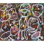 Opening: 5000 EUR        Peter Pongratz  (Eisenstadt 1940 geb.)  KEE-MO KY-MO  Acryl auf Papier, auf