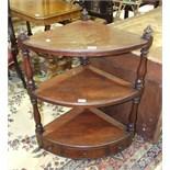 A 19th century mahogany three-tier corner whatnot, 64cm wide, 85cm high.
