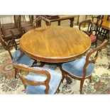 A Victorian mahogany circular breakfast table with moulded border, on turned column.