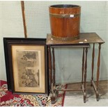 A 20th century brass-bound coopered planter, 35cm diameter, 34cm high, two framed prints and two