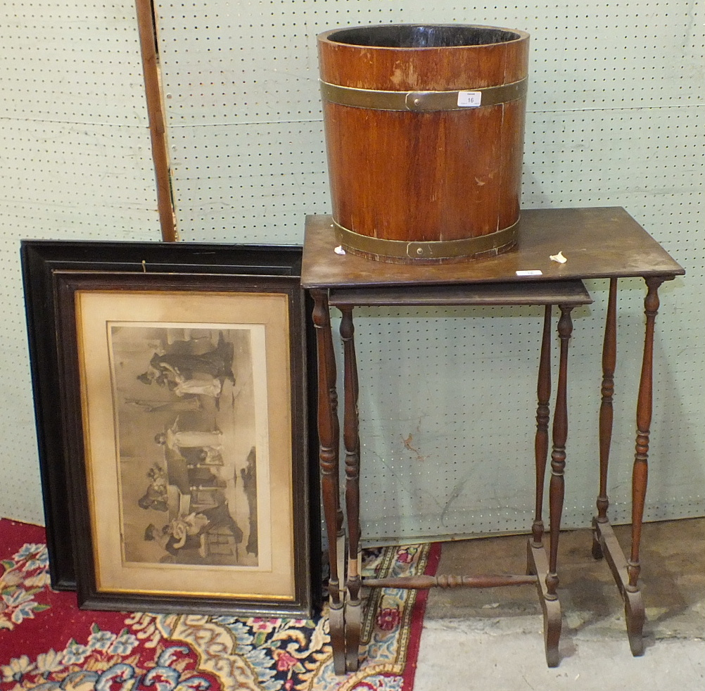 Lot 16 - A 20th century brass-bound coopered planter, 35cm diameter, 34cm high, two framed prints and two