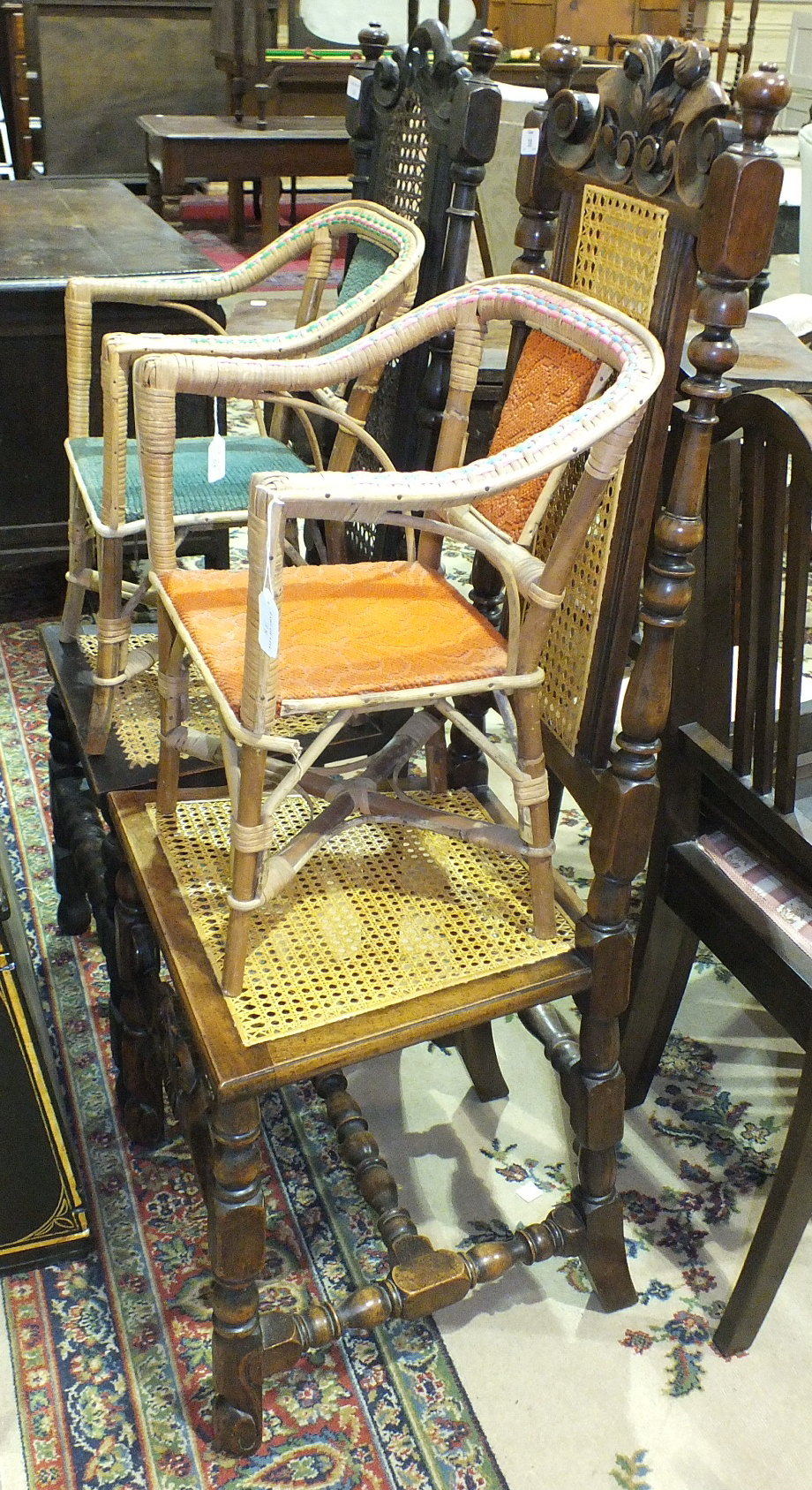 Lot 24 - Six stained wood dining chairs, two 19th century caned dining chairs and other chairs.