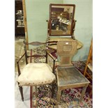 An elm circular tilt-top table on painted tripod, a stripped oak hall chair and other items, all