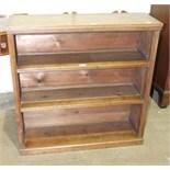 A walnut freestanding open bookcase, 91cm wide, 93cm high, 30cm deep.