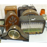 A Philips Type341A Bakelite mains radio, four reproduction radios and a mantel clock, (6).