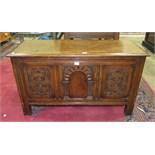 A 20th century oak coffer/blanket chest, 114cm wide.