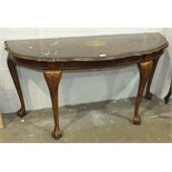 A reproduction walnut hall table with single drawer, 75cm wide and another reproduction hall table.