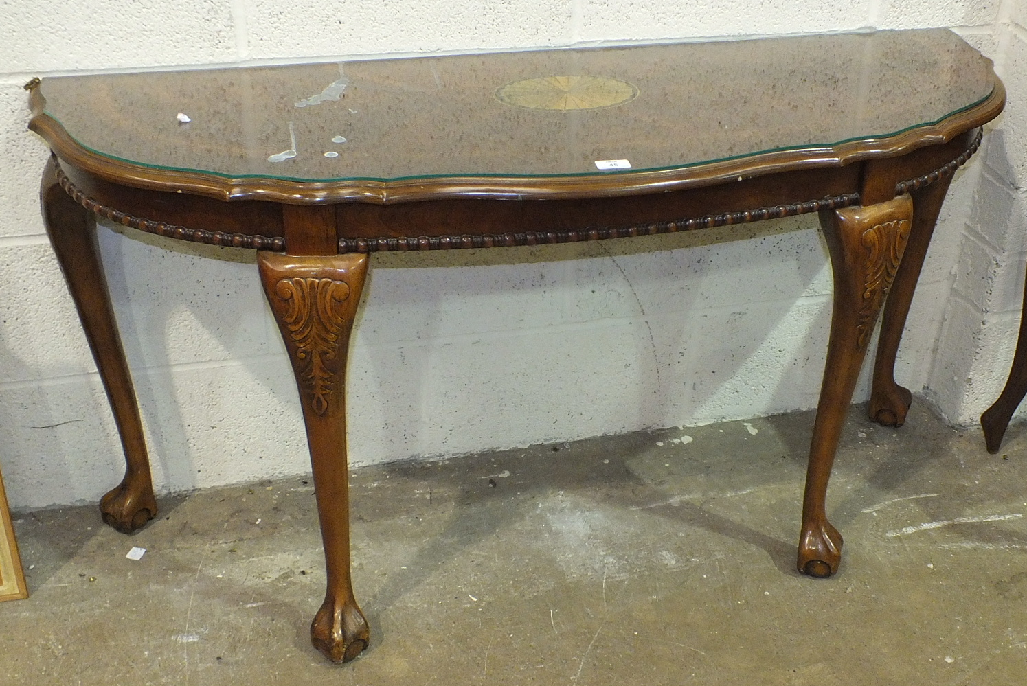 Lot 45 - A reproduction walnut hall table with single drawer, 75cm wide and another reproduction hall table.