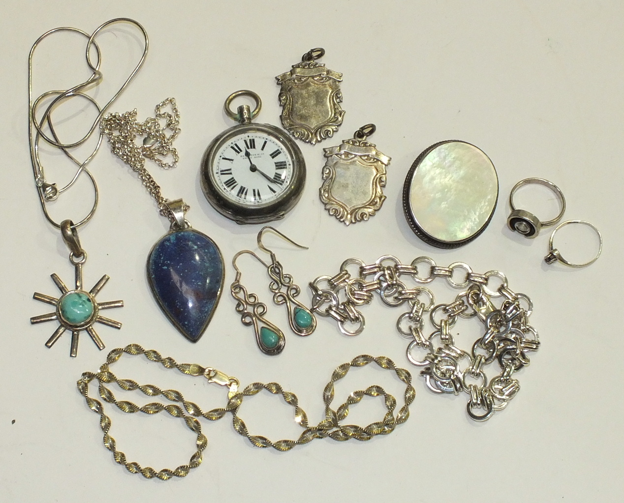 Lot 131 - A silver-cased pocket watch, (a/f) and a collection of silver jewellery.