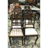 Six stained wood dining chairs, two 19th century caned dining chairs and other chairs.