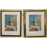 After Rolf Harris, 'Still Life (Homage to Cezanne)', two framed, signed, coloured prints, 55 x 41cm.